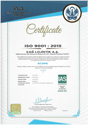 Çağ Lojistik ISO 9001 Sertifikamız İngilizce
